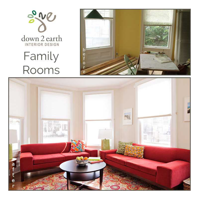 family rooms before and after