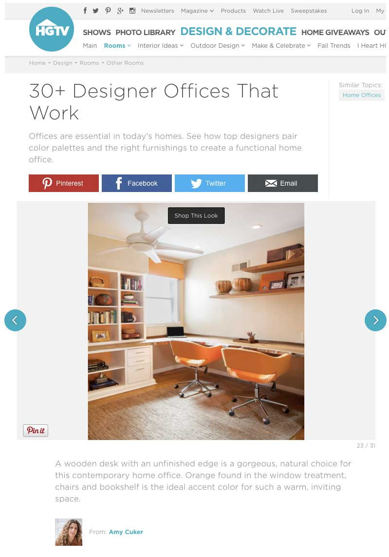 hgtv calls this the contemporary home office with wood desk and orange accents and describes the home office as