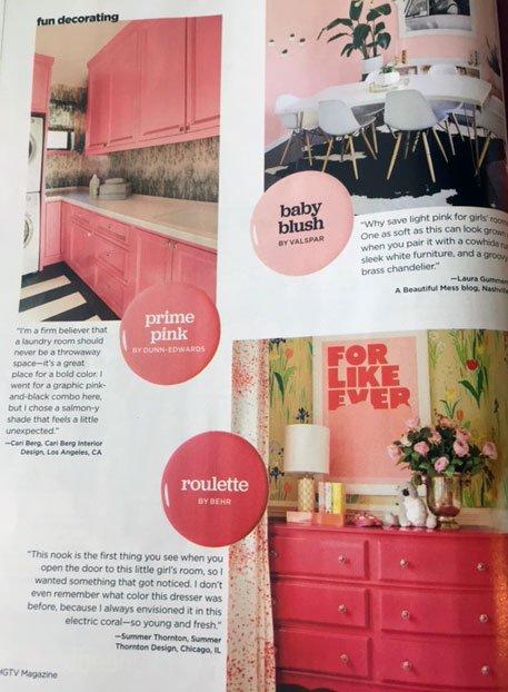 d2e in HGTV Magazine\'s Pops of Color Issue | down2earth Interior Design