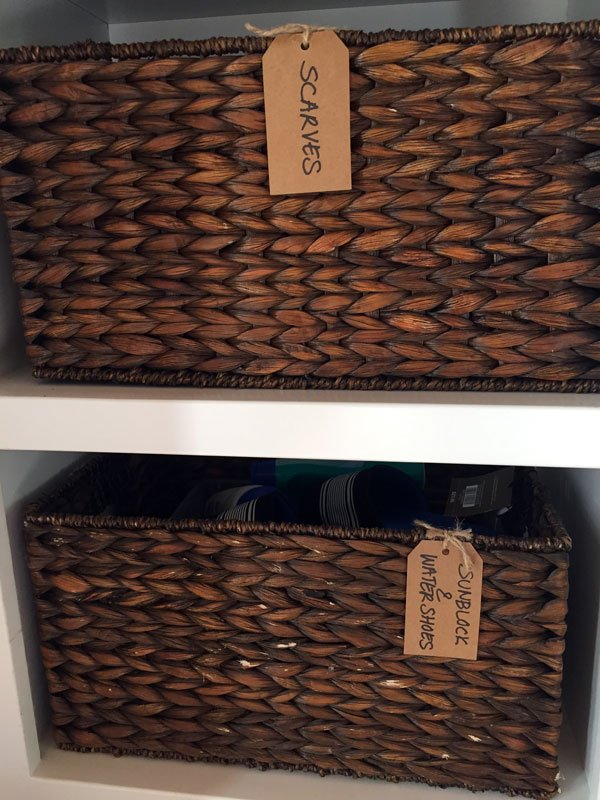 Down2Earth Interior Design | Mudroom Organization Storage Baskets and Tags