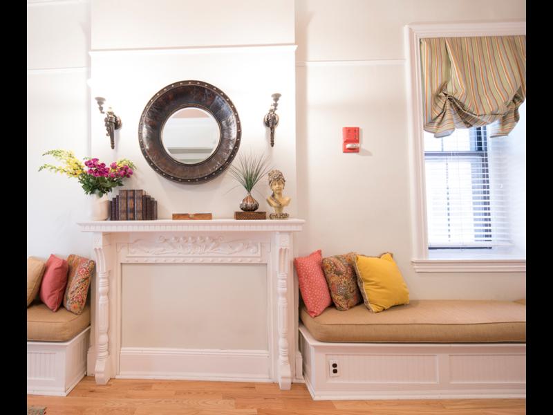 Sorority Study Interior Design Fireplace