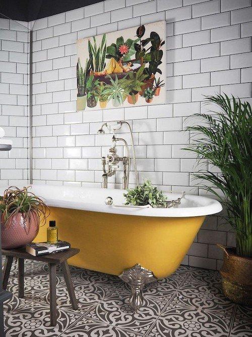 Bathroom Inspiration, Yellow Tub