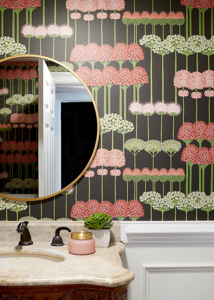 Floral Wallpaper in powder room , interior design
