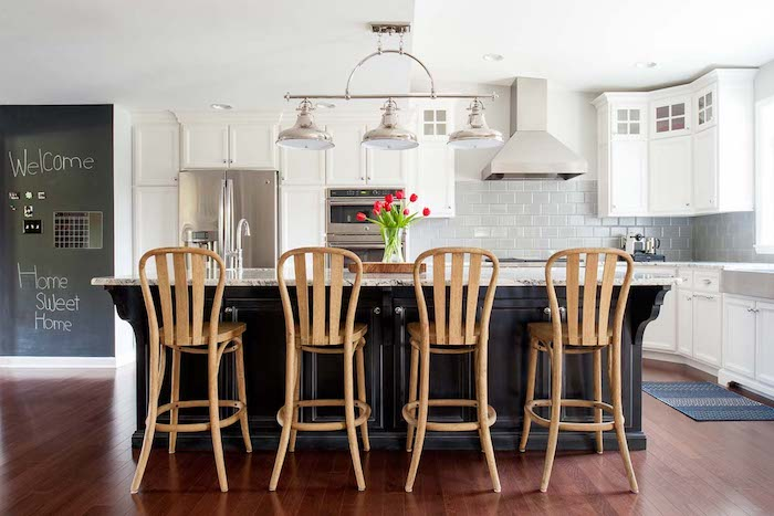 Down2Earth Interior Design Black, White and Wood Kitchen. Photos credit: Rebecca McAlpin