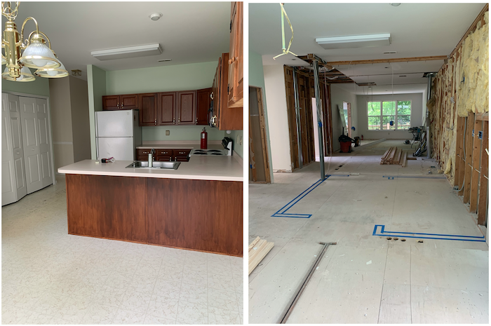 Kitchen before and during renovation
