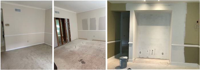 Bar area before and during renovation