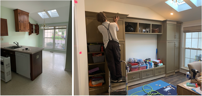 Before and during mudroom renovation